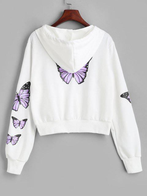 fashion Pockets Zip Up Butterfly Hoodie - WHITE L Mobile