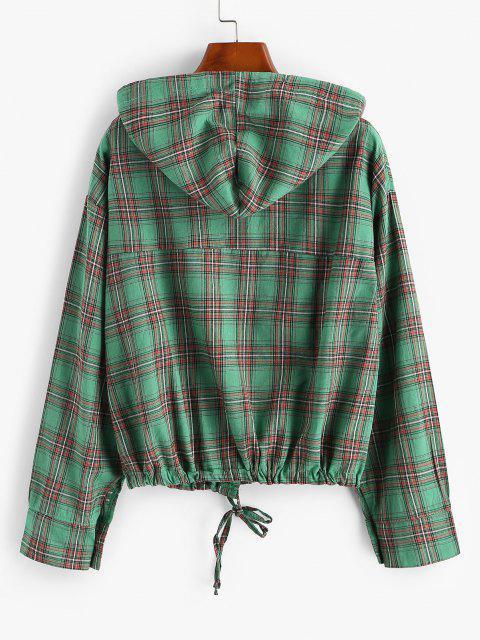 Plaid Hooded Drawstring Chest Pocket Jacket - ديب غرين S Mobile