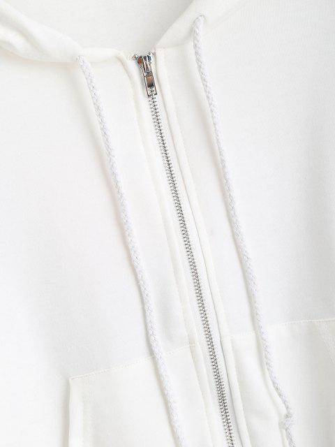 trendy Pockets Zip Up Butterfly Hoodie - WHITE XL Mobile