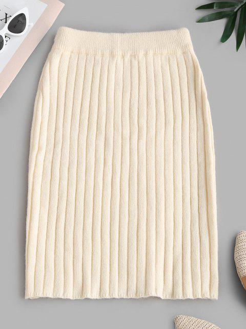 online Ribbed Sheath Sweater Skirt - LIGHT COFFEE ONE SIZE Mobile