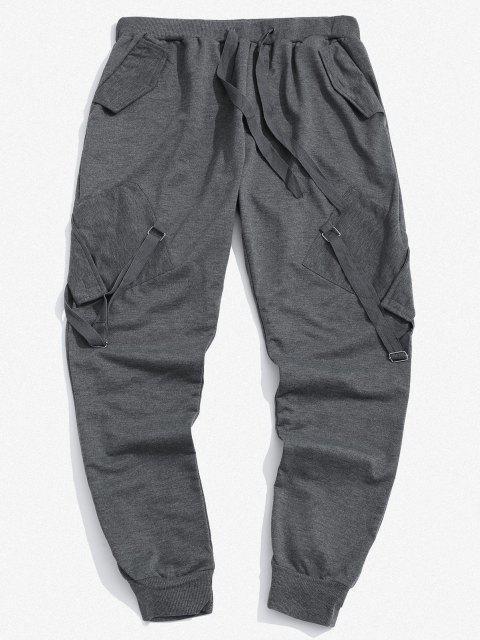 Pantalones Deportivos con Cinta y Bolsillos - Gris Oscuro 3XL Mobile