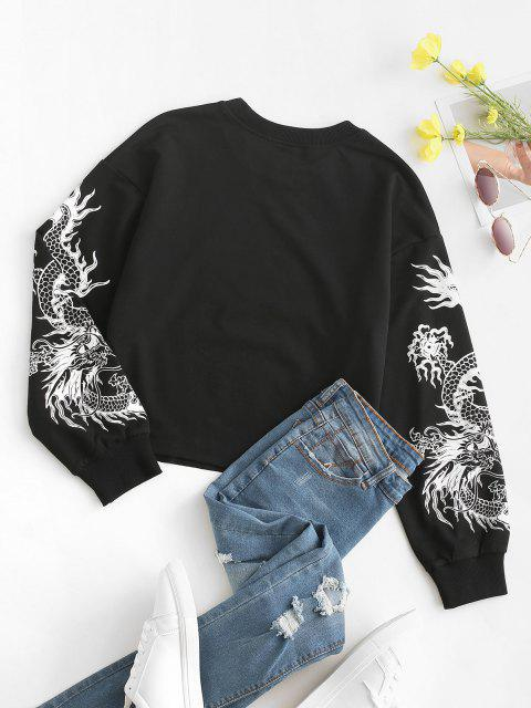 Chinese Dragon Graphic Raw Cut Hem Casual Sweatshirt - أسود XL Mobile