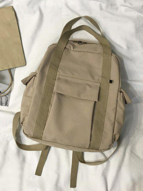 shop Waterproof Solid Pocket Backpack - LIGHT COFFEE  Mobile