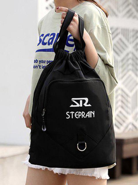 outfit Letter Pattern Folded Drawstring Backpack - BLACK  Mobile