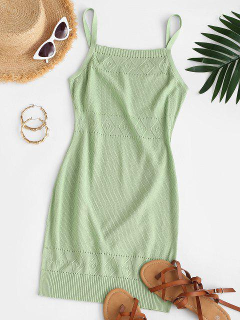 new Straps Pointelle Knit Sweater Dress - GREEN S Mobile