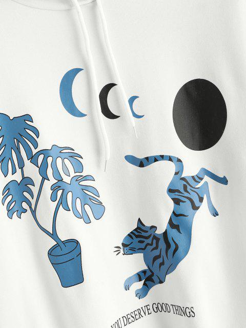 online Oriental Tiger Moon Print Pullover Hoodie - WHITE S Mobile
