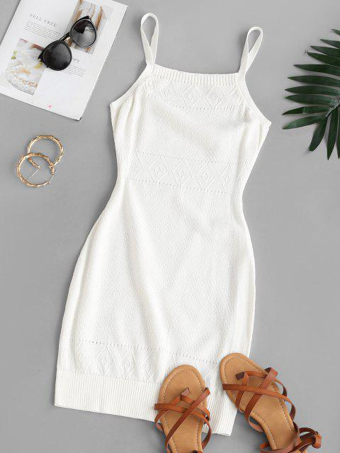 ladies Straps Pointelle Knit Sweater Dress - WHITE S Mobile