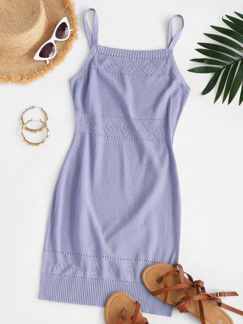 ladies Straps Pointelle Knit Sweater Dress - LIGHT PURPLE S Mobile
