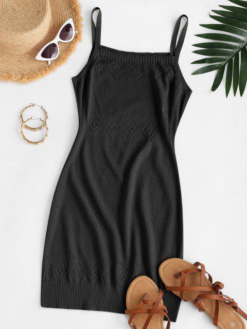 Riemen Pointelle Strick Pullover Kleid - Schwarz S Mobile