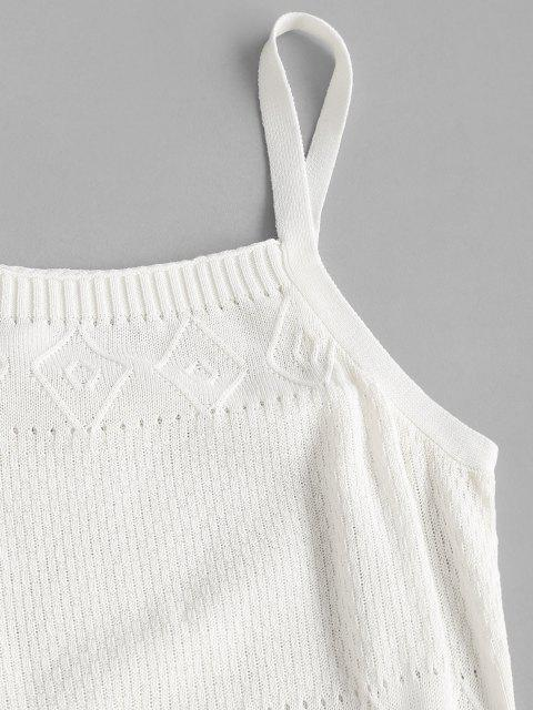 fancy Straps Pointelle Knit Sweater Dress - WHITE M Mobile