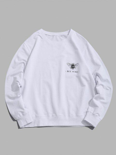 womens Honey Bee Graphic Crew Neck Lounge Sweatshirt - WHITE XS Mobile