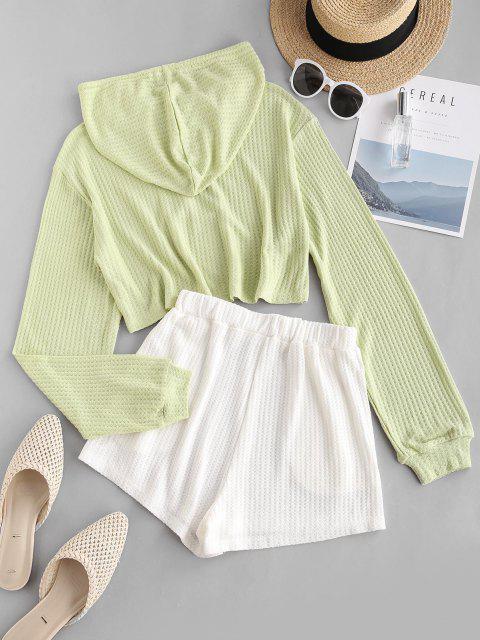 buy Colorblock Knitted Hooded Drop Shoulder Pocket Shorts Set - LIGHT GREEN S Mobile