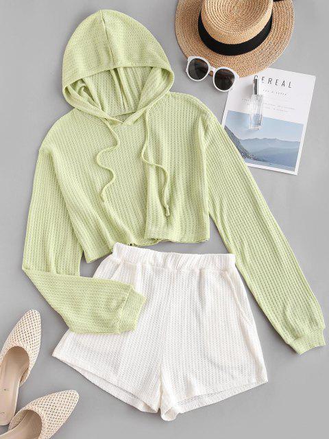 lady Colorblock Knitted Hooded Drop Shoulder Pocket Shorts Set - LIGHT GREEN L Mobile