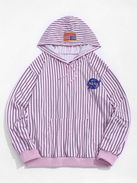 American Flag Badge Letter Graphic Stripes Hoodie - وردي فاتح 2XL Mobile