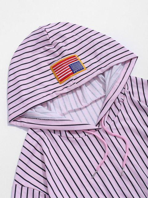 Amerikanische Flagge Badge Buchstaben Grafik Streifen Hoodie - Helles Rosa 2XL Mobile