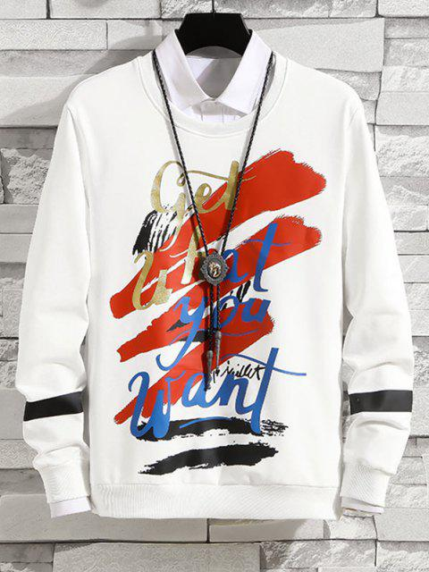 outfit Letter Graphic Print Rib-knit Trim Sweatshirt - WHITE S Mobile