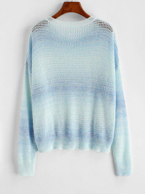 new Drop Shoulder Ombre Open Knit Sweater - LIGHT BLUE ONE SIZE Mobile