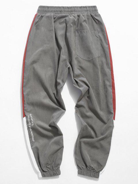 Pantalones de Carga a Rayas con Estampado Gráfico de Color Bloque - Turquesa Gris XS Mobile