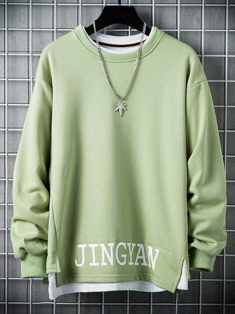 lady Letter Graphic 2 In 1 Side Slit Casual Sweatshirt - PISTACHIO GREEN 2XL Mobile