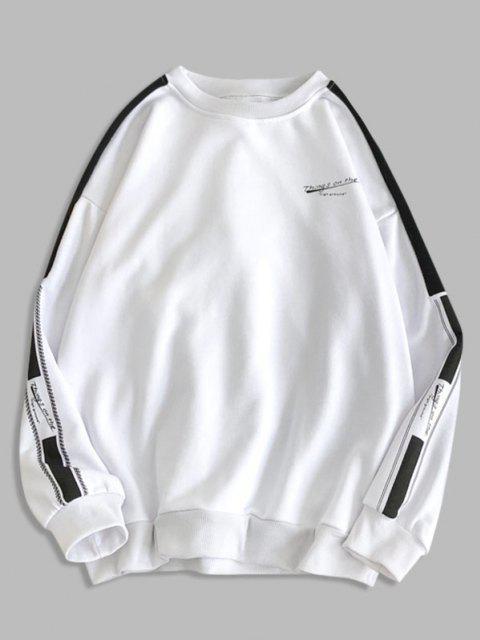 Sweat-shirt Bicolore Lettre Graphique à Goutte Epaule - Blanc 2XL Mobile