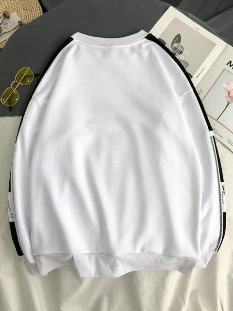 affordable Letter Graphic Two Tone Drop Shoulder Sweatshirt - WHITE M Mobile