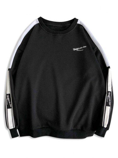 shop Letter Graphic Two Tone Drop Shoulder Sweatshirt - BLACK 2XL Mobile