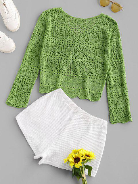 womens Openwork Colorblock Pocket Knitted Shorts Set - GREEN ONE SIZE Mobile