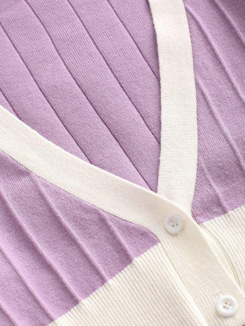 chic Plunging Bicolor Crop Cardigan - LIGHT PURPLE L Mobile