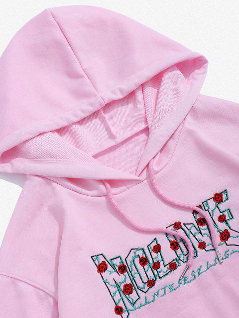 Rosen Buchstabe Stickerei Grafik Hoodie - Hell-Pink 2XL Mobile