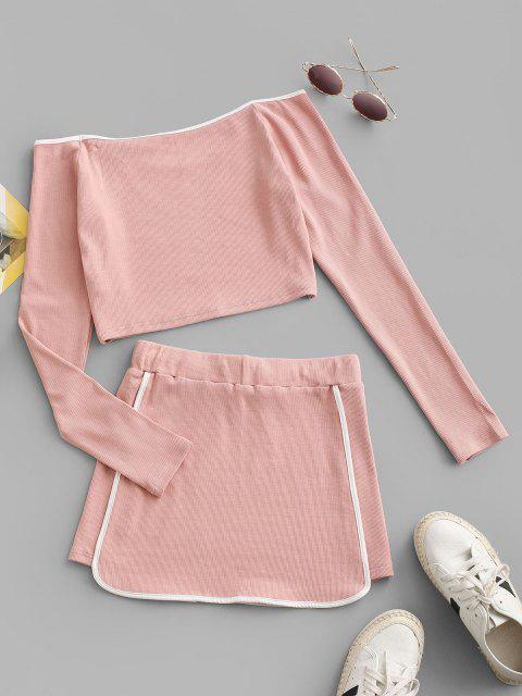 women ZAFUL Contrast Piping Ribbed Off Shoulder Two Piece Dress - LIGHT PINK M Mobile