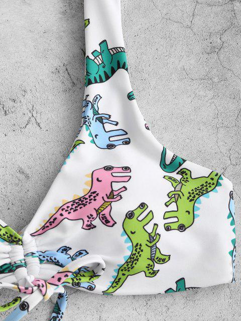 affordable ZAFUL Cartoon Dinosaur Print Cinched Padded Bikini Swimwear - WHITE M Mobile