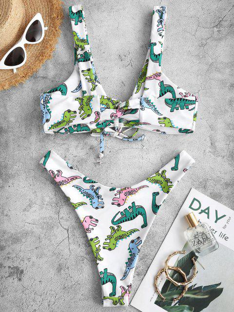 buy ZAFUL Cartoon Dinosaur Print Cinched Padded Bikini Swimwear - WHITE L Mobile
