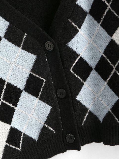Argyle Knopf V Ausschnitt Crop Strickjacke - Schwarz Eine Größe Mobile