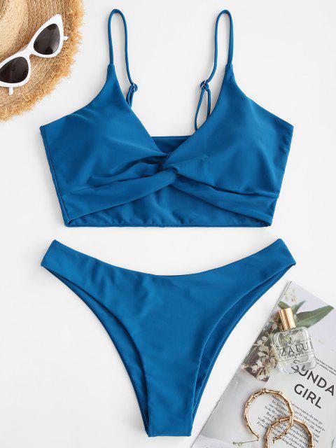 ZAFUL Einfache Tankini Badebekleidung mit Hohem Schnitt - Tiefes Blau S Mobile