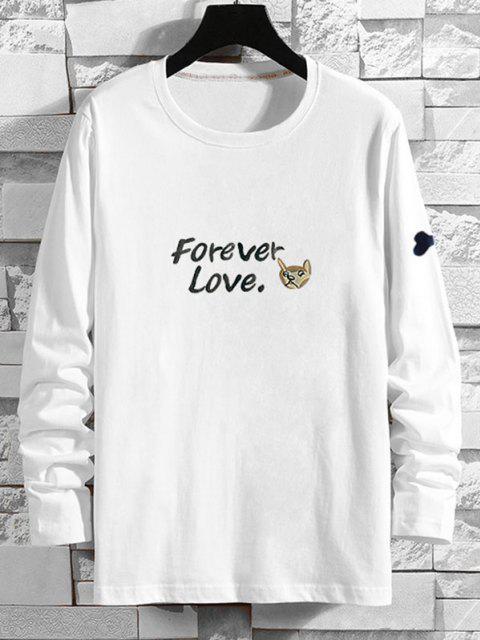 Forever Liebe Cartoon Hundedruck T-Shirt - Weiß XS Mobile
