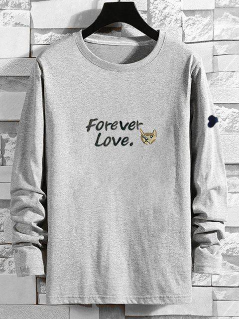 shop Forever Love Cartoon Dog Print T-shirt - GRAY XL Mobile