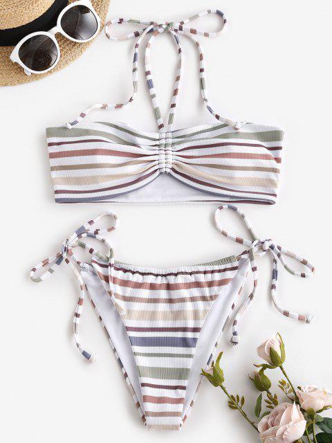 latest ZAFUL Ribbed Striped Cinched Convertible Tanga Bikini Swimwear - WHITE M Mobile