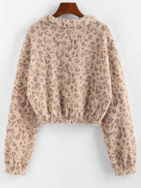 sale ZAFUL Half Zip Leopard Print Short Sweatshirt - APRICOT S Mobile