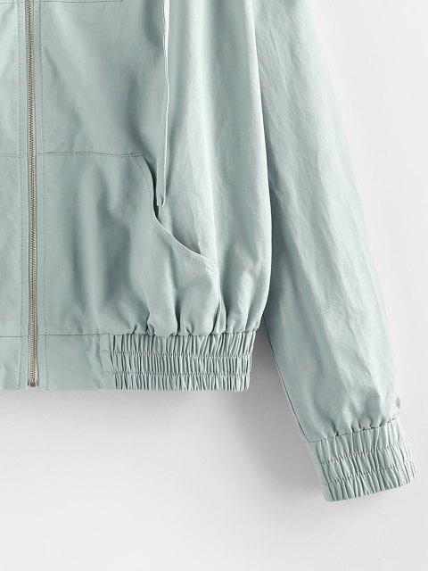 ZAFUL Känguru Tasche Kapuze Reißverschluss Jacke - Blaugrau M Mobile