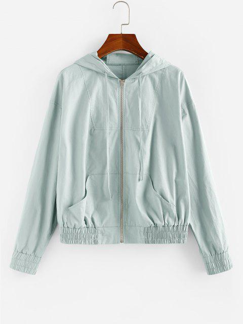 ZAFUL Kangaroo Pocket Hooded Zip Up Jacket - ازرق رمادي M Mobile