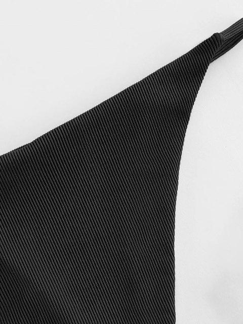 shops ZAFUL Ribbed Tanga Bikini Bottom - BLACK L Mobile