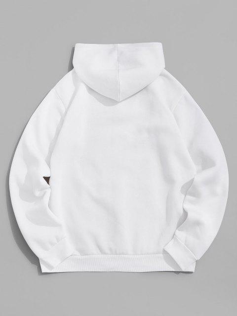 shop Chinese Character Print Flocking Drawstring Hoodie - WHITE L Mobile