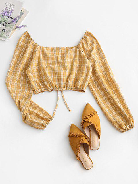 ladies ZAFUL Cropped Cinched Front Plaid Blouse - YELLOW XL Mobile