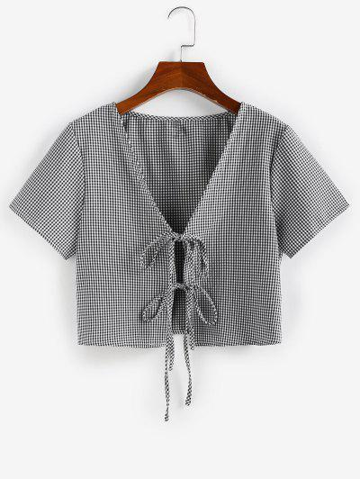 ZAFUL Gingham Tie Front Plunging Blouse - Multi-e S