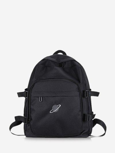 Planet Print Polyester Solid Backpack - Black