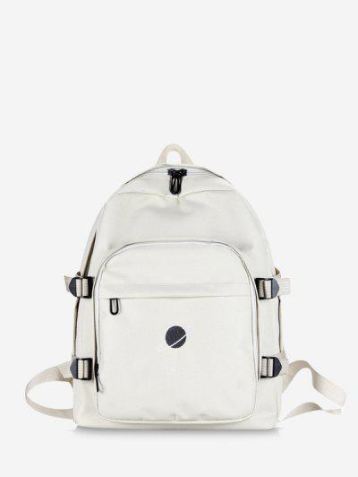 Planet Print Polyester Solid Backpack - White