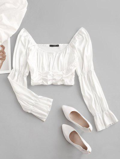 ZAFUL Gathered Silky Satin Milkmaid Blouse - White M