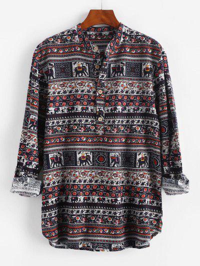 Floral Striped Print Half Button Shirt - Deep Blue 2xl