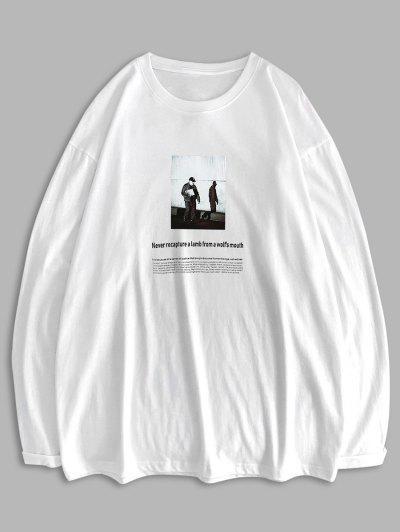 Long Sleeve Texting Graphic Basic T Shirt - White 2xl
