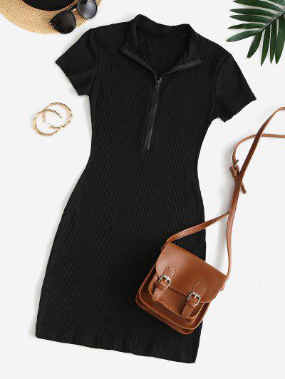 Half Zip Ribbed Bodycon Dress - Black M